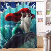 Custom Grumpy Cat of Little Mermaid Waterproof Polyester Shower Curtain