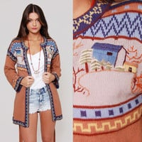 Vintage 70s Cardigan Sweater Embroidered CABIN Print HIPPIE Wrap Sweater Jumper S/M