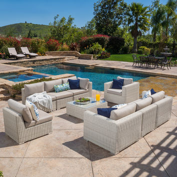 Francisco Outdoor 9-Piece Wicker Chalk Seating Sectional Set w/ Sunbrella Cushions & 4 Navy Pillows