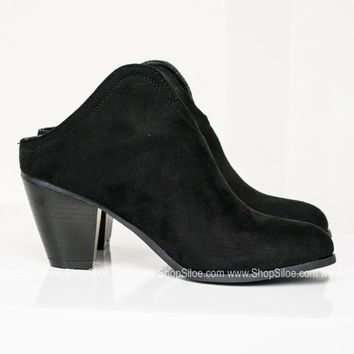 Slip On Suede Booties | Black