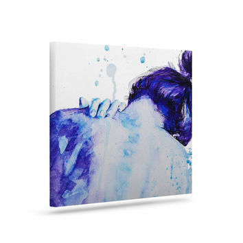 "Cecibd ""Blue"" Aqua Watercolor Canvas Art"