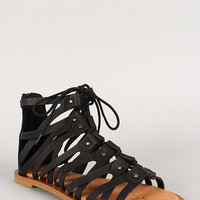 Bamboo Strappy Gladiator Lace Up Open Toe Flat Sandal