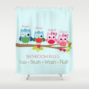 Owl family bathroom rules personalized from avery and ethan for Bathroom decor rules