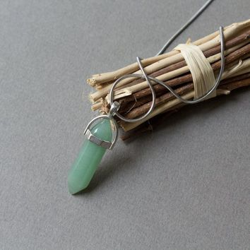 Crystal Point Pendant Agate Crystal Necklace Green Agate necklace Boho necklace Simple necklace Gift For Her Girlfriend gift Wife gift