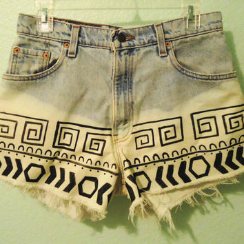 High Waisted Tribal print shorts-Size 7/8