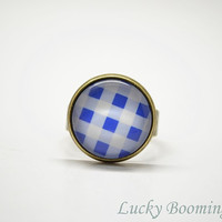 Quadrille Fabric Pattern Ring - Blue and White Square Glass Art adjustable Ring Photo Glass Cabochon R13