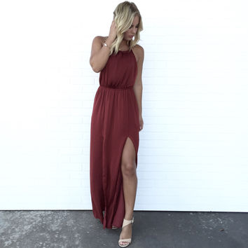 Luxurious Satin Maxi Dress In Wine
