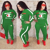 Champion Autumn And Winter Fashion New Letter Long Sleeve Two Piece Suit Sports Leisure Top And Pants Women Green
