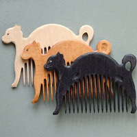 Wooden Comb Cat Hand Carved Natural. One of your choice.  Head Handle - Ready to Ship