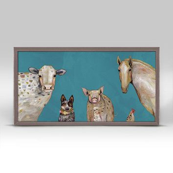 Cattle Dog and Crew - Teal Mini Framed Canvas