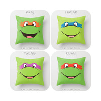 TMNT Teenage Mutant Ninja Turtles Throw Pillow 16x16 Decorative Cover Pop Culture Television Show Gift Him Fun Green Movie Cartoon Orange