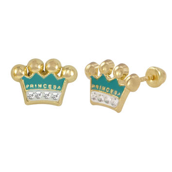 10k Yellow Gold Earrings Blue Princess Crown Studs with Screwbacks