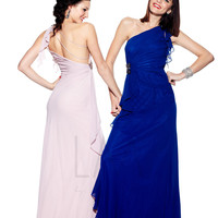 Royal Blue Chiffon One Shoulder Low Back Prom Dress - Unique Vintage - Cocktail, Pinup, Holiday & Prom Dresses.