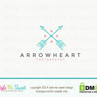 Premade Custom Photography Logo - Arrow Heart Premade Logo for Photographer or Small Business Logo
