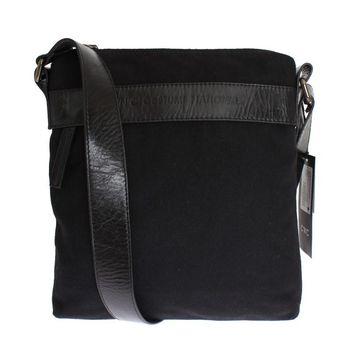 Black Wool Messenger Crossbody Bag