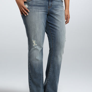 Torrid Relaxed Boot Jean - Light Wash with Ripped Destruction (Regular)