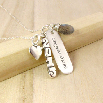 Graduation Necklace - Gift for Graduate - Sterling Silver Year Charm - Live Your Dream - Gemstone Birthstone - 2015 Graduation Present