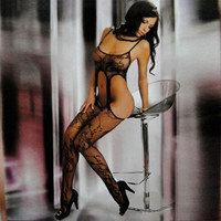 Black Open Crotch Fishnet Jacquard Bodystockings Sexy Lingerie Body Stockings = 1931912900