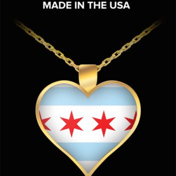Chicago Love Gold Plated Heart Necklace