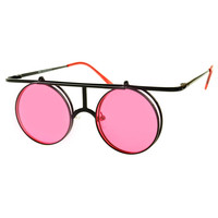 Steampunk Retro Style Flip Up Lens Metal Round Sunglasses R2530