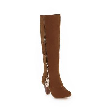 Zip Deco Tall Boots Winter Shoes for Woman 3275