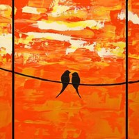 """ARTFINDER: love birds original abstract landscape """"Sitting in the sunshine"""" painting art canvas - 40 x 120 inches by Stuart Wright - A good sized birds on a wire extra large painti..."""