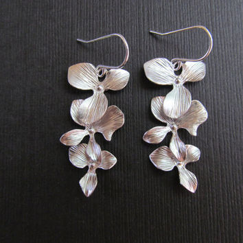 Silver Orchid Earrings -Trio Cascade Flower Earrings Brides Maid of Honor Bridesmaids Bridal Best Friend Wedding Gift Special Fall Earrings