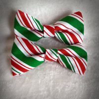 Candy Cane Striped Hair Bows-Holiday Hair Bows- Candy Cane Striped Bow Ties