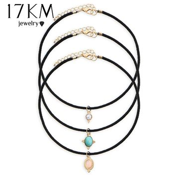 17KM 3 Colors Europe Blue Stone Chokers Necklaces Velvet choker Pendants Necklaces Sets Necklace Jewelry Vintage Maxi
