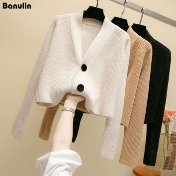 Banulin Winter Autumn Fashion Cashmere Sweater Women Cardigan Sweater Female V-Neck Knitted Coat Slim Sweater Clothing 3 Colors