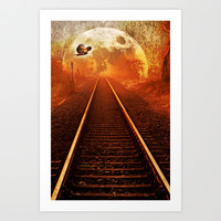 Railway to the moon Art Print by Pirmin Nohr