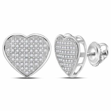 10kt White Gold Women's Round Diamond Heart Cluster Stud Earrings 1-6 Cttw - FREE Shipping (US/CAN)