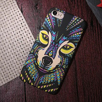 Yellow Wolf Embossed Feel Phone Case For iPhone 7 7Plus 6 6s Plus 5 5s SE