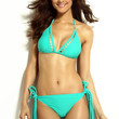 Mint Green Halter Bikini Swimsuit With Fringe Buttom
