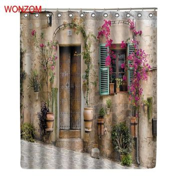 WONZOM Flower House Shower Curtains with 12 Hooks For Bathroom Decor Modern Bath Waterproof Curtain New Bathroom Accessories
