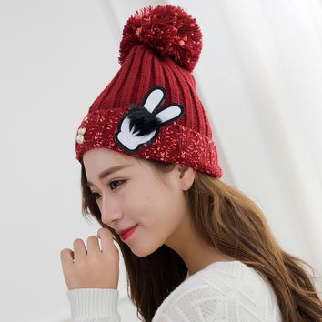 Novel Design Winter Hats with Pearl and Rabbit Ear Tag Mixed Color Yarn Balls Caps for Women Lady Girls