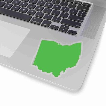 Ohio State Shape Sticker LIME GREEN