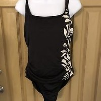 Miraclesuit One Piece Swimsuit Black White Floral Size 8