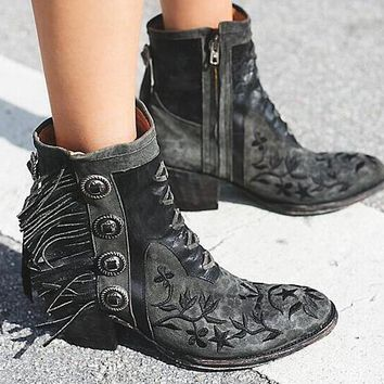 Embroidery Flowers Point Toe Ankle Boots Fringe Side Boots