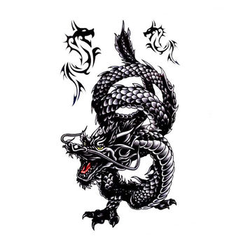 Large Mens Dragon Temporary Tattoo Black wth Red Accents
