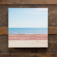 Minimalist Geometric Beach Photography Gallery Wrap Canvas, 10x10 Canvas, Modern Ready to Hang Art, Colorful Geometric
