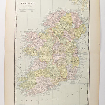 Old Ireland Map 1888 Antique Map of Ireland, Gift for Couple, Unique Office Art Gift for Coworker, Vintage Irish Decor, Ireland Wedding Gift