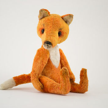 Orange Fox Stuffed Animal Soft Toy Teddy Bear Artist Collectible Cute