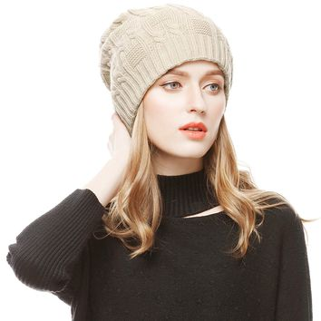 Unisex Slouchy Cable Knit Beanie Cap Oversized Thick Winter Beanie Hat