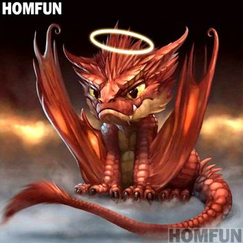 "HOMFUN Full Square/Round Drill 5D DIY Diamond Painting ""Animal dragon"" 3D Embroidery Cross Stitch Mosaic Home Decor Gift A00934"