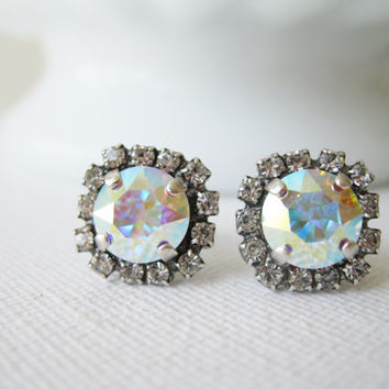Aurora Borealis Halo Stud Earrings, AB Crystal, Bridesmaid Earrings, Bridal Jewelry, Wedding Jewelry, Rainbow earrings, Swarovski Elements