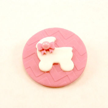 Sweet little Fondant White Baby Buggy on a Chevron Pink background. Set of 12 (one dozen)