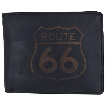 Route 66 Mens RFID Bifold Credit Card ID Genuine Leather Wallet