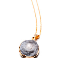 Druzy Disc Necklace | LEIF ($20-50)