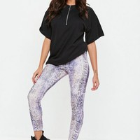 Missguided - Purple Scuba Snake Print Leggings